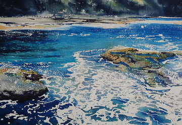 Watercolour landscape of the beaches of Southern NSW