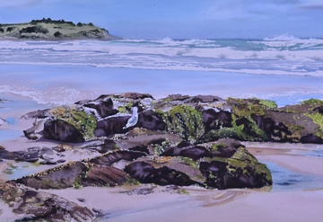 Watercolour landscape of the beaches of Northern NSW
