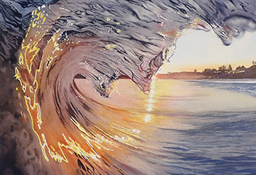 View inside a wave for sunset
